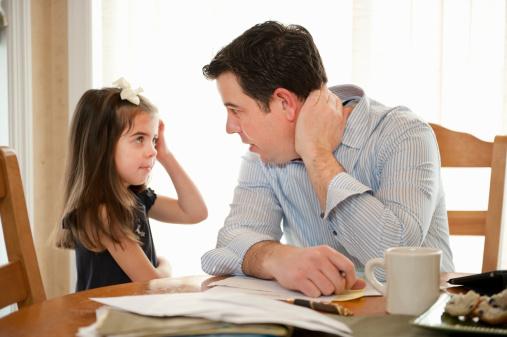 child asking dad for something