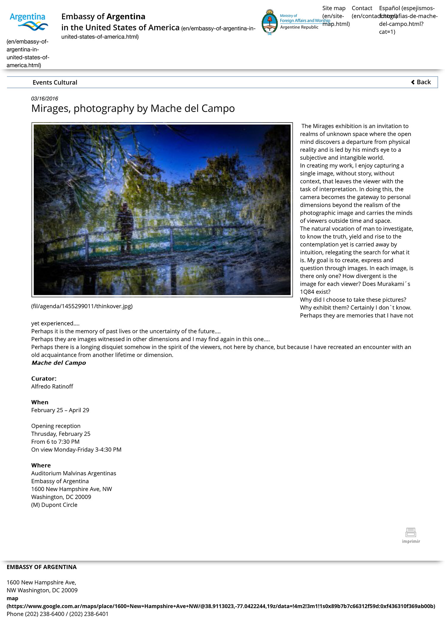 "Solo Exhibition ""Mirages""Embassy of Argentina in Washington D.C. - USA, February 2016"