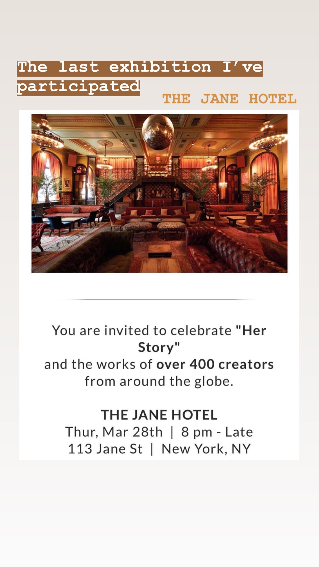 "SeeMee""Her Story"" - The Jane Hotel, New York USA 2019"