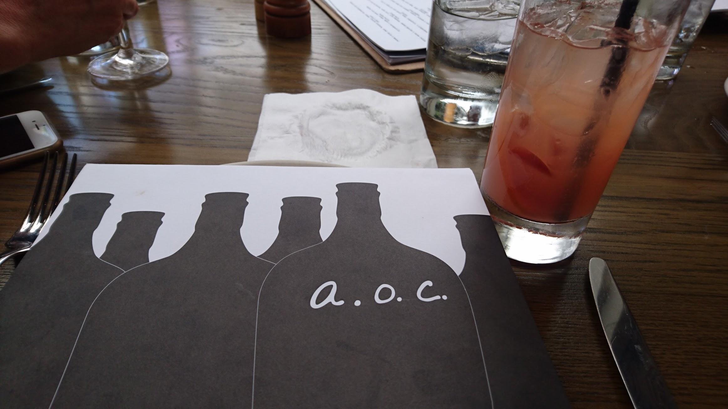 The a.o.c. brunch menu is available until 3pm on weekends.
