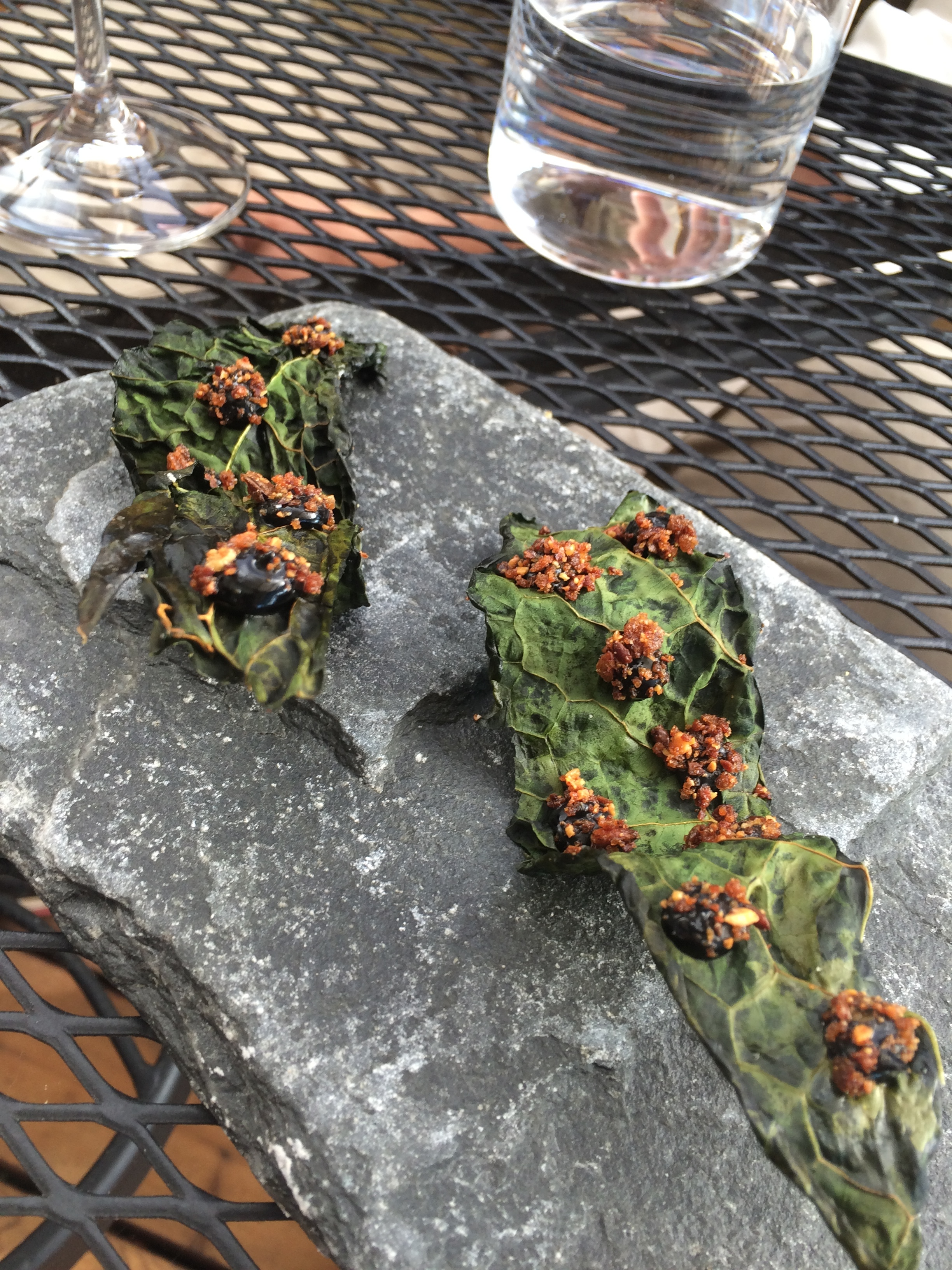 Kale leaves with black truffle