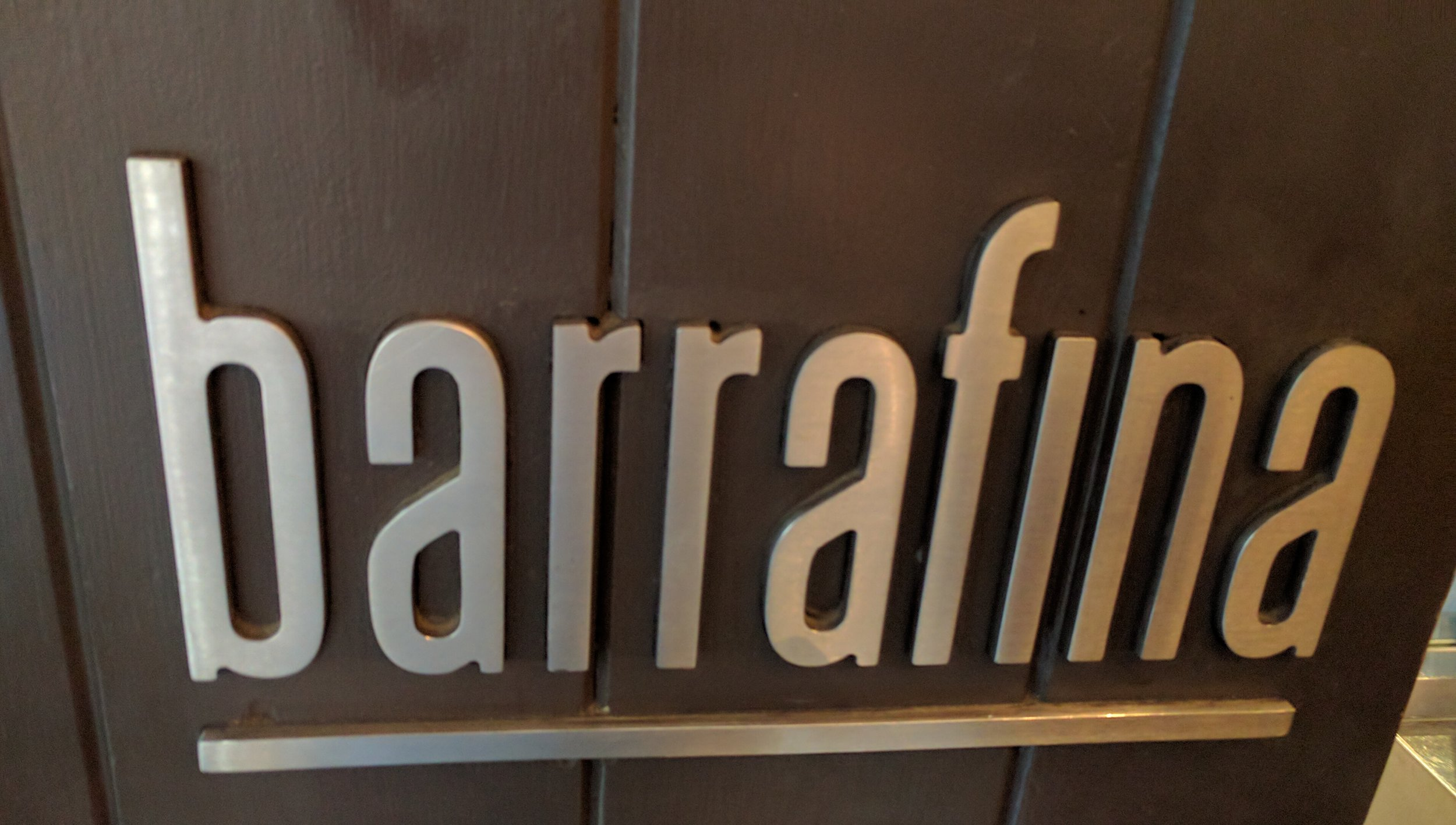 The only sign that you are at Barrafina is a small name on the front door.