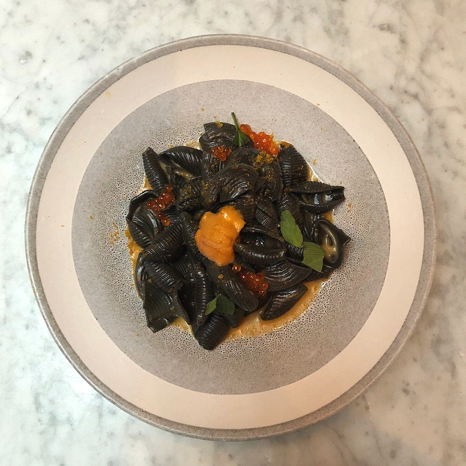"BUCATINI ""CARBONARA""  squid ink, uni, trout roe, bottarga, chipotle butter 