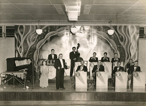 Ted Croad's band at the Orange Coronation Hall, Auckland, early 1940s. - Photo from Audio Culture