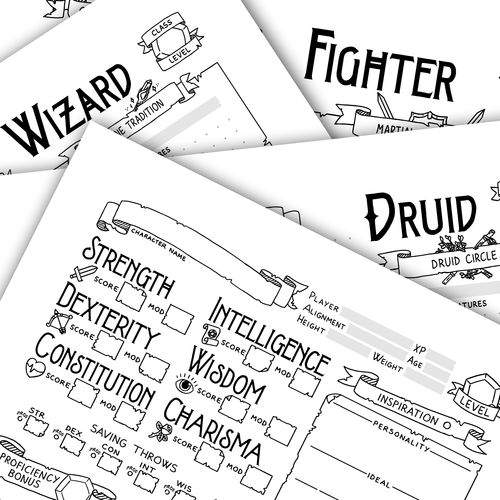 Bundle of 5th Edition Classic Character Sheets — Games & Stuff by Julien
