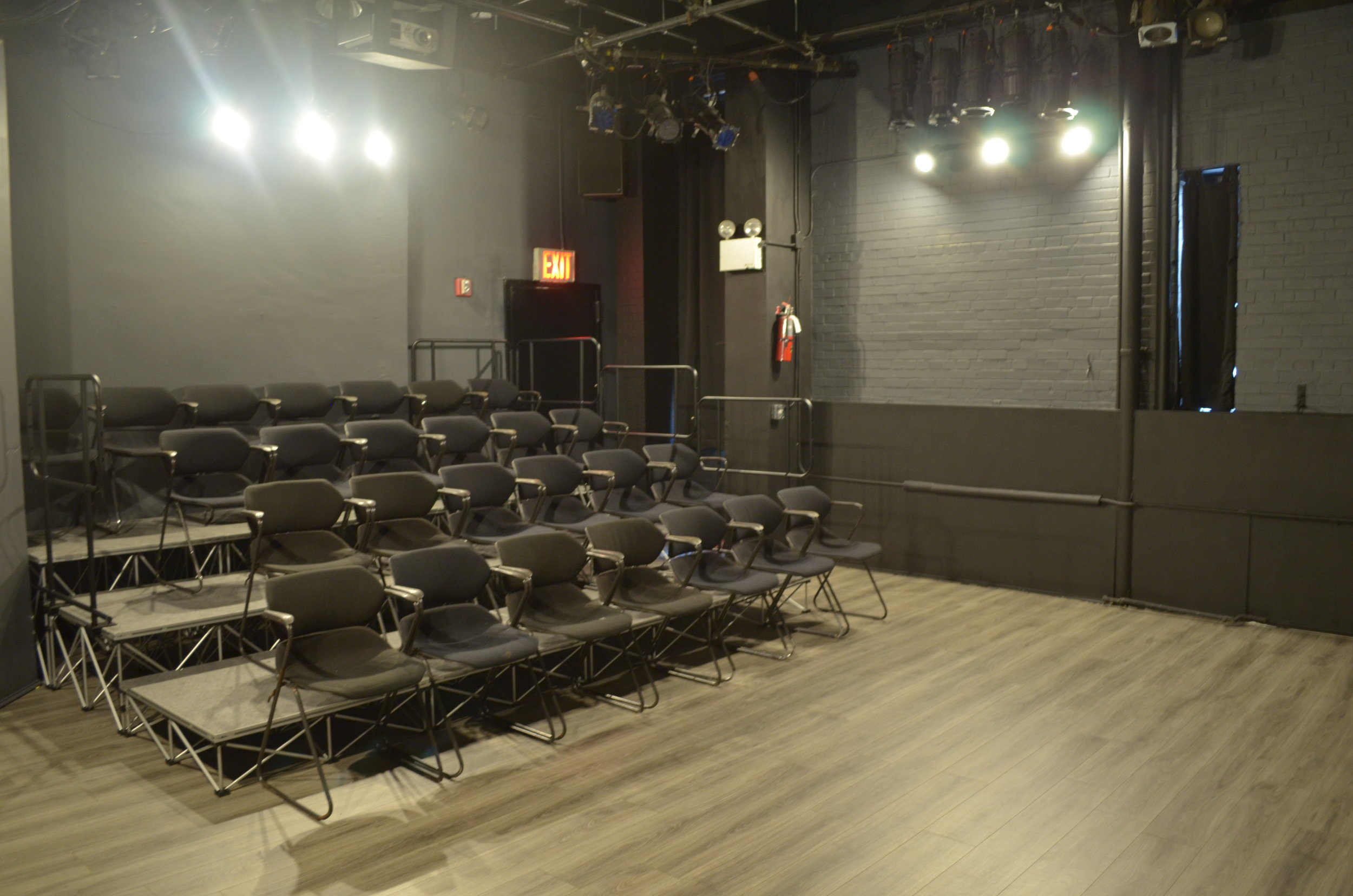 Studio Theatre - - Seating Capacity: 25-40 seats- Risers and chairs are all removable.Great for readings, projects in developments, intimate screenings and rehearsals. Across the street from ARTNY, Ripley Grier, in the Theatre Building with the Tank and Barrow Group Theatre. Removable risers and seating up to 40 patrons. Rehearsal cubes and stands available. Projector and screen on site. A great affordable space for works in development, private screenings, staged readings, showcase work to investors, and develop new projects.ADA Accessible