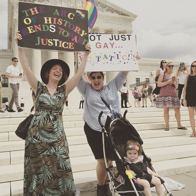 Happy Pride Month All!!! ❤️🧡💛💚💙💜🖤 Thinking about that glorious day that me and my sister and wee Adeline got to celebrate the passage of Marriage Eqaulity on the steps of the Supreme Court. Those were the days...