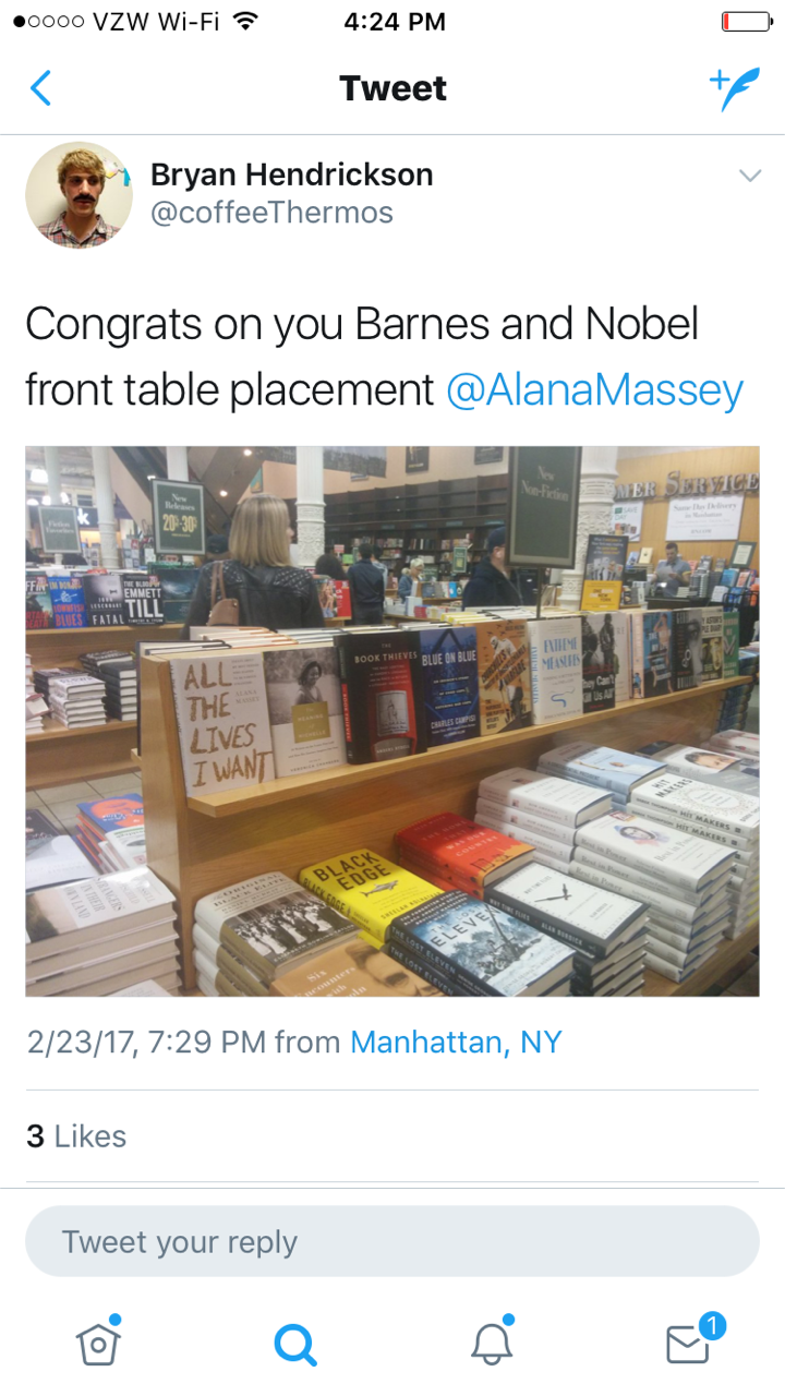 Here's a tweet about it being on the front table at Barnes & Noble, Union Square, an NYC landmark where literally everyone has stopped to pee at least once. - (I have heard that publishers pay to have it placed here but WHATEVER FOREVER.)