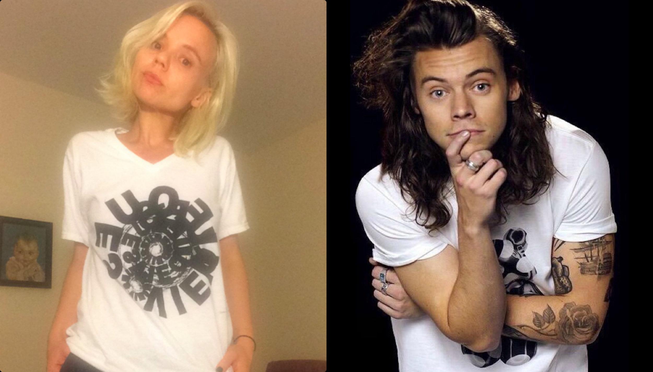 Alana Massey Harry Styles White and Black T-Shirts.jpg