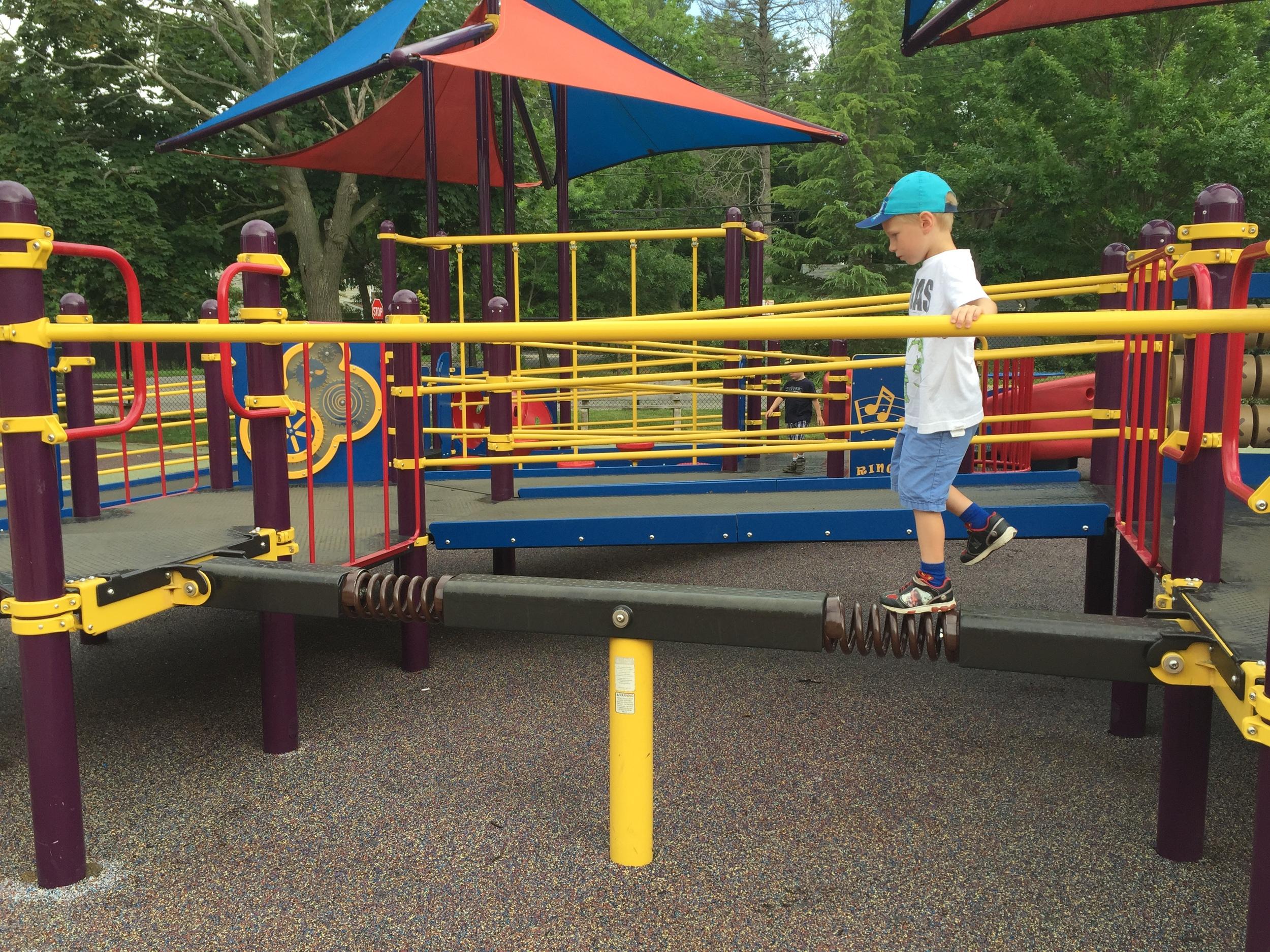 Balance beam at Pine Acres Playground