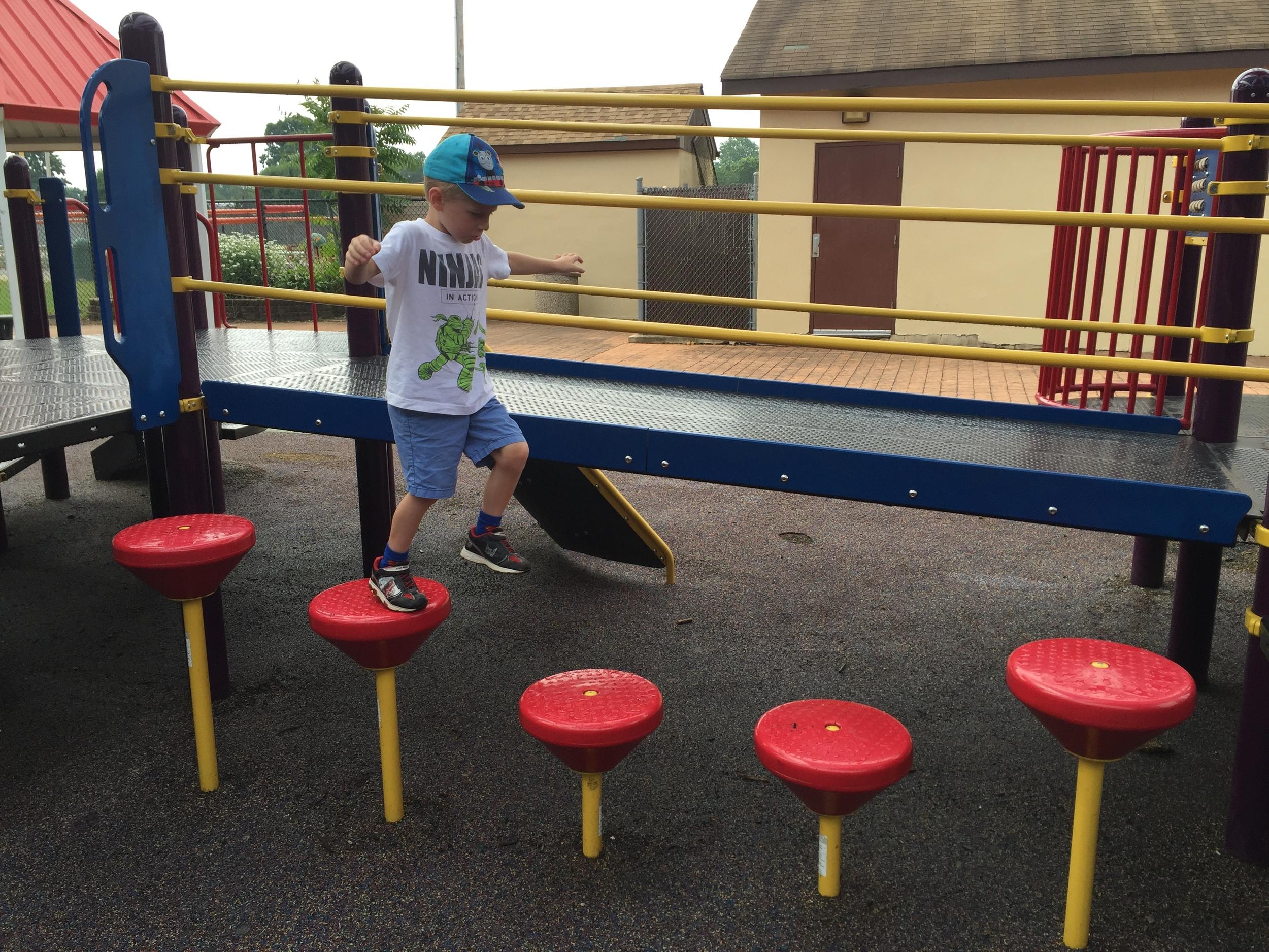 Balance steps at Pine Acres Playground