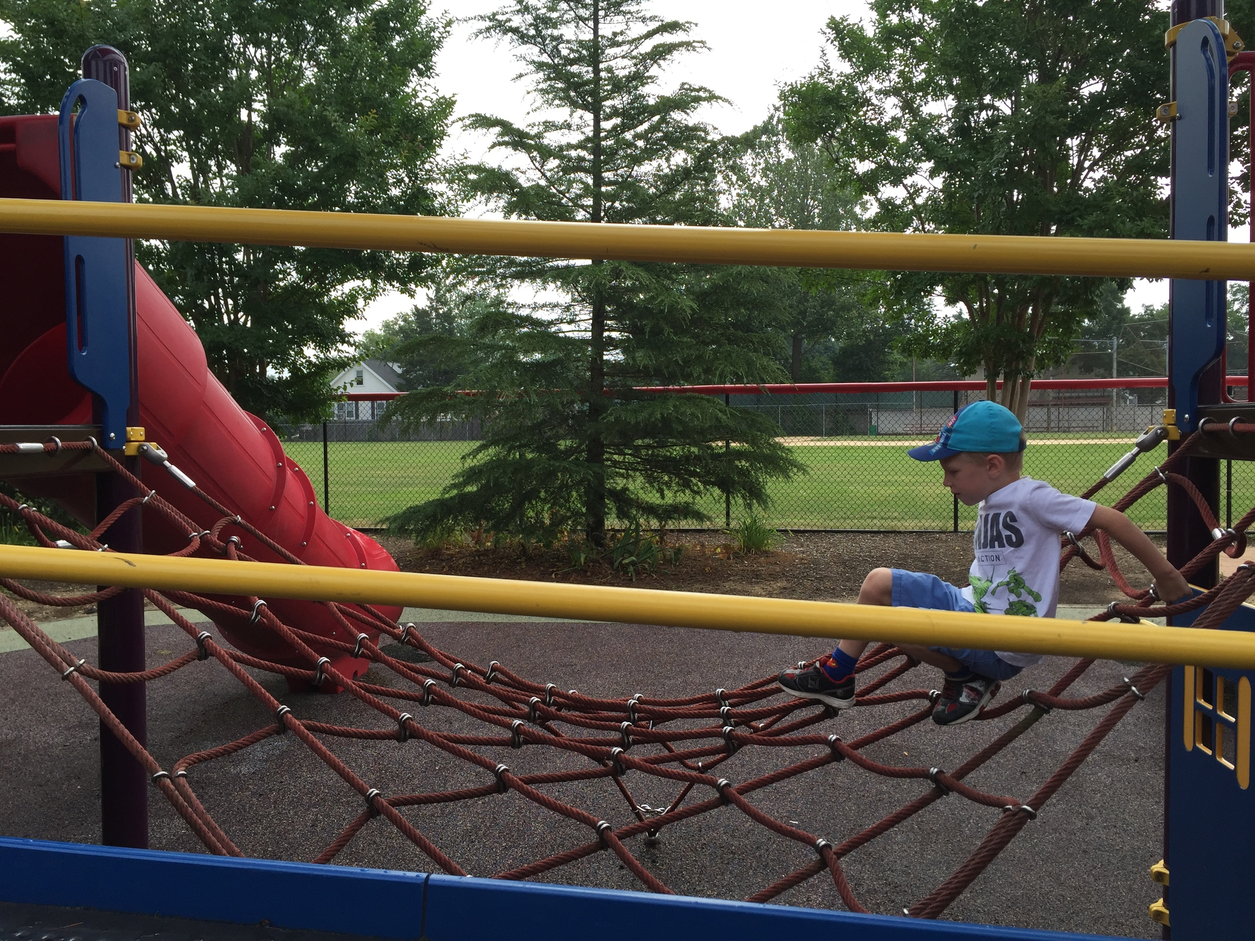 Rope climb at Pine Acres Playground