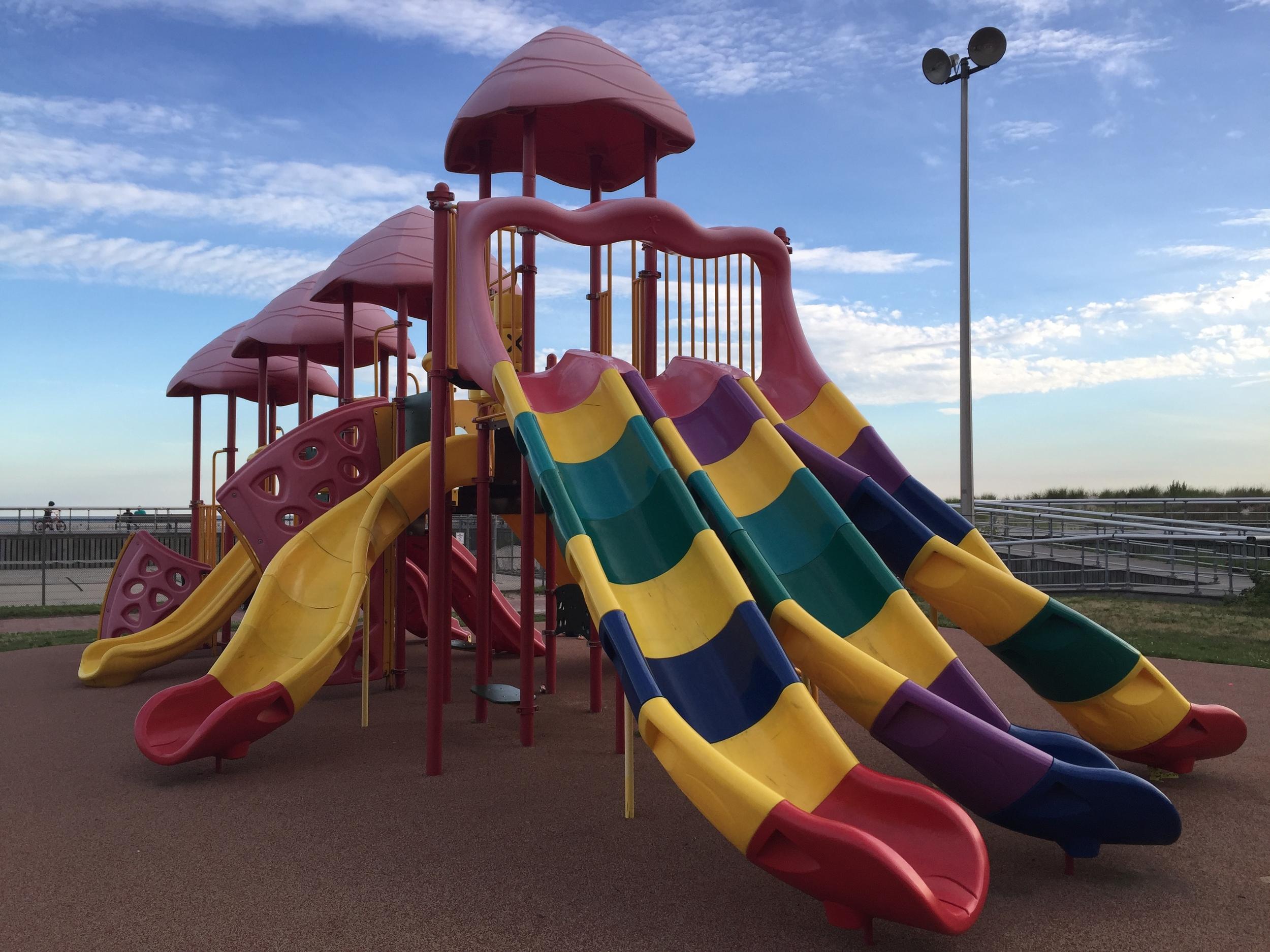 Big slides at Boardwalk Playground at Jones Beach