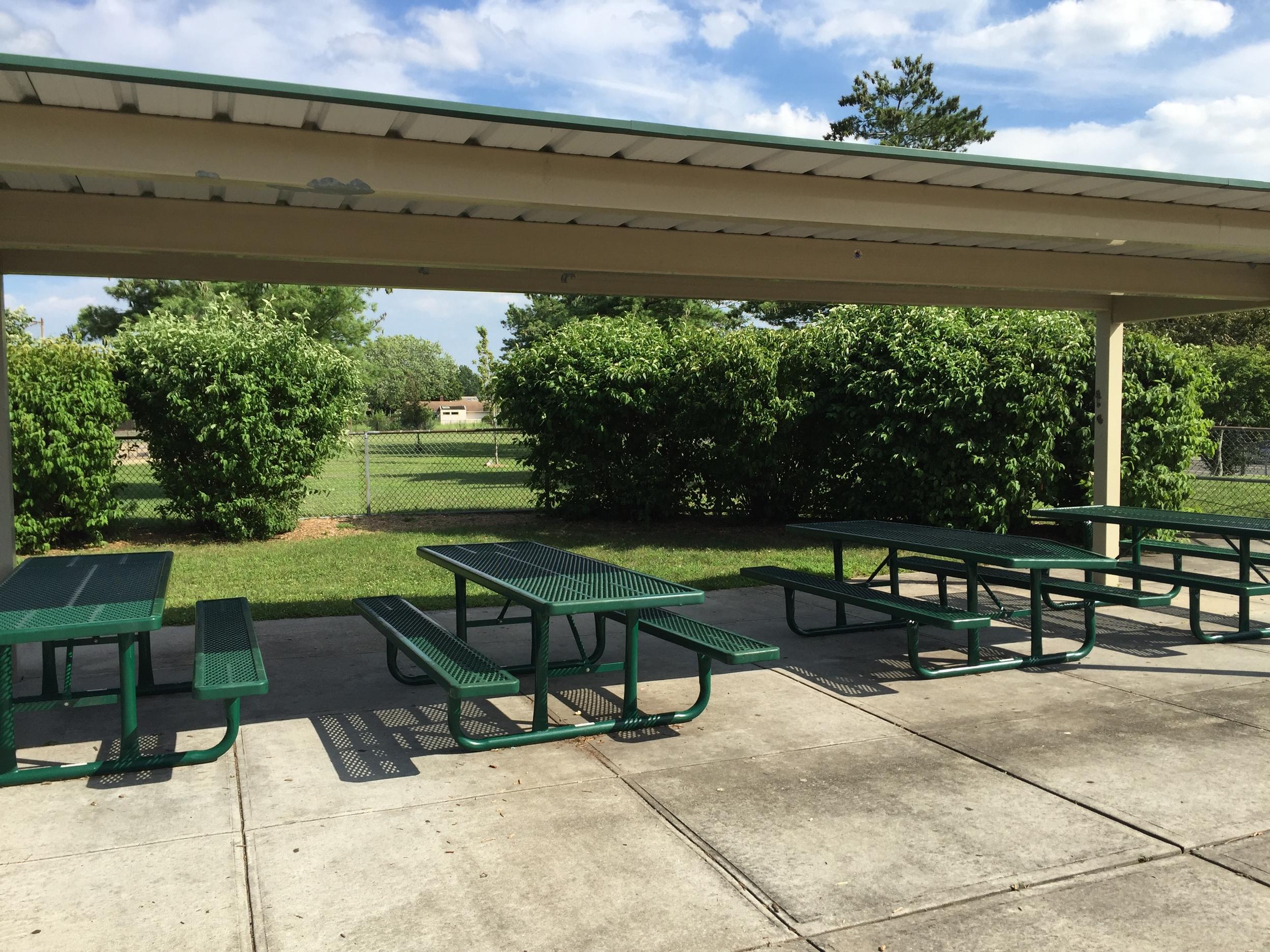 Picnic tables at Senator Speno Park