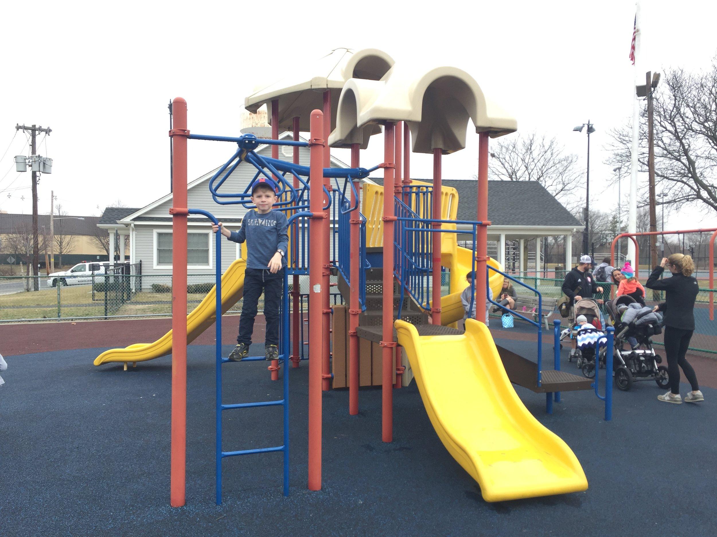 Slides at Centennial Playground
