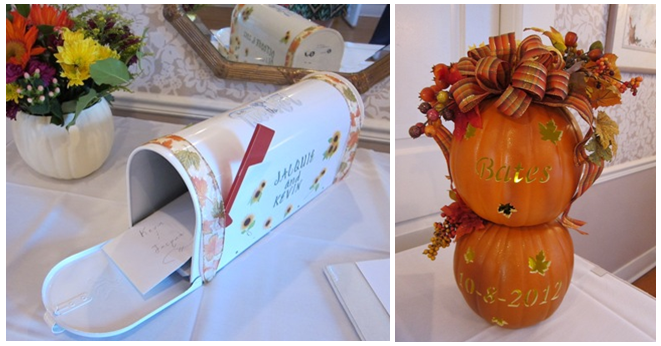 A mailbox for cards from the Bride's Mother & a display of custom pumpkins from the Groom's Mother