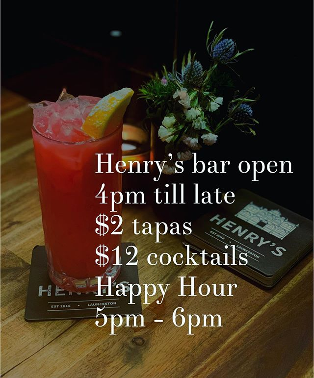 Tonight 🙌 ps our restaurant is currently closed #henryslaunceston #launcestonbars #cocktails #happyhour