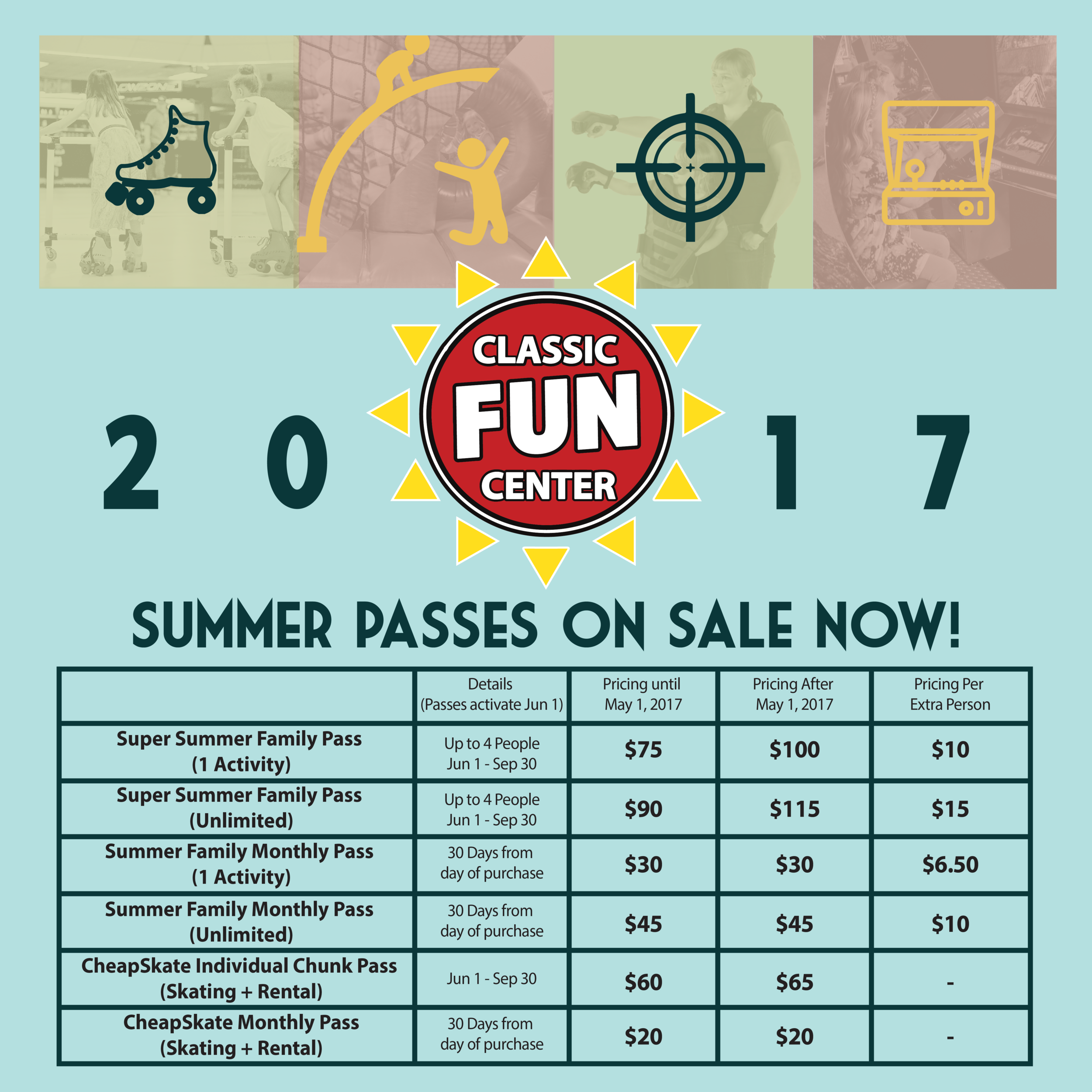 2017 Summer Pass Pricing