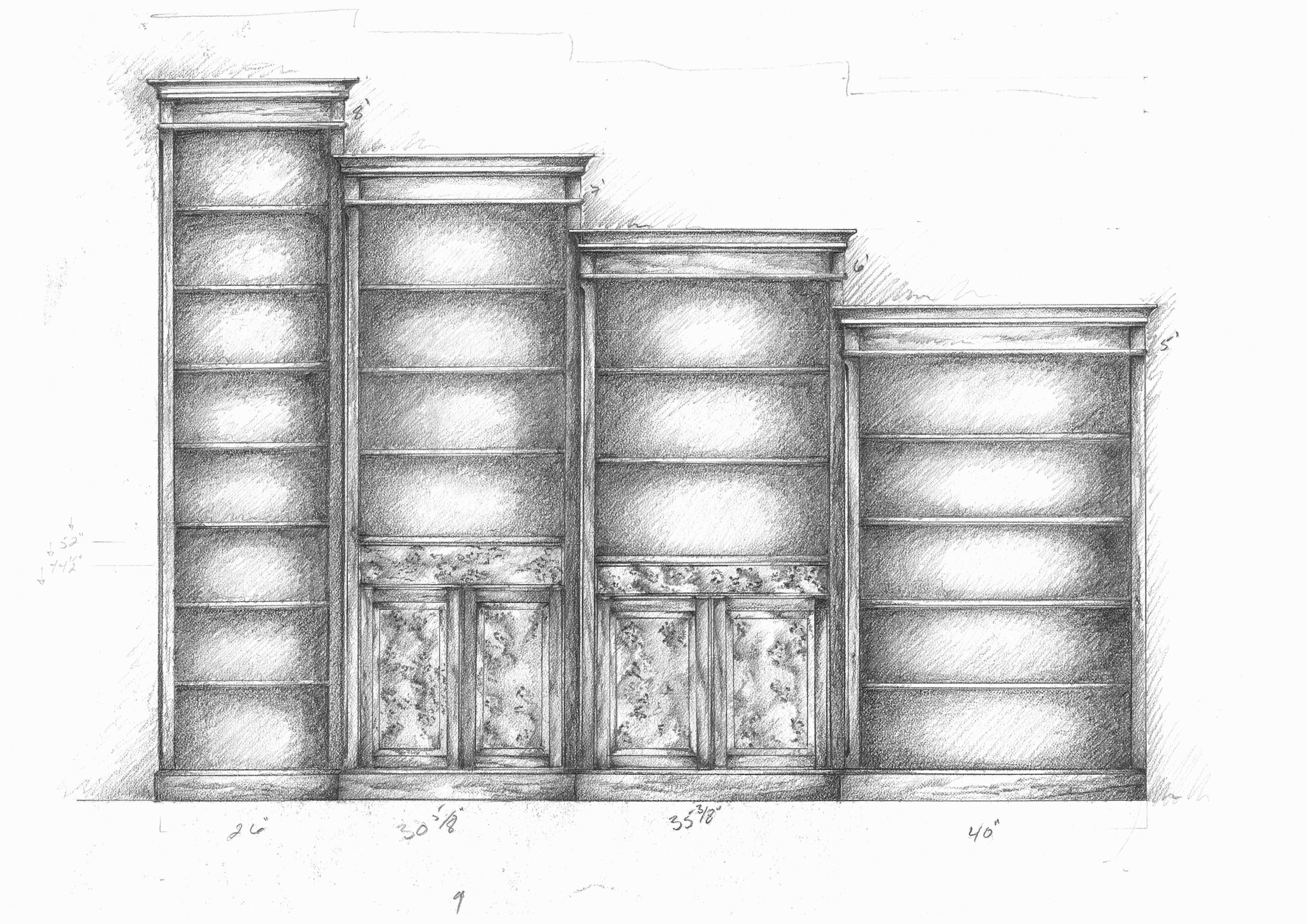 Bookcase concept drawing.