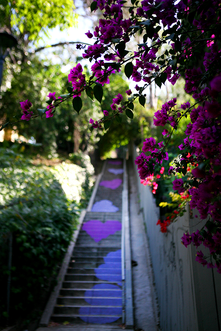 Pictured: Upper Section of the Micheltorena Stairs—Stair Candy and Blooming Hearts by Artist Corrine Carrey.