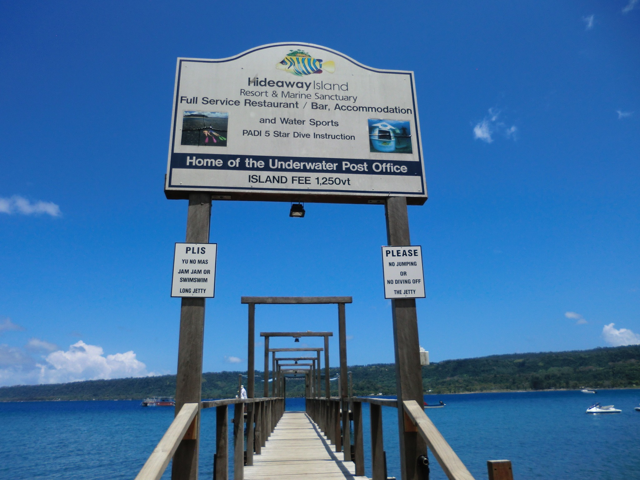 "Vanuatu - check out the two signs below the main sign. one is in ""english"" the other is in broken ""english"". Priceless."