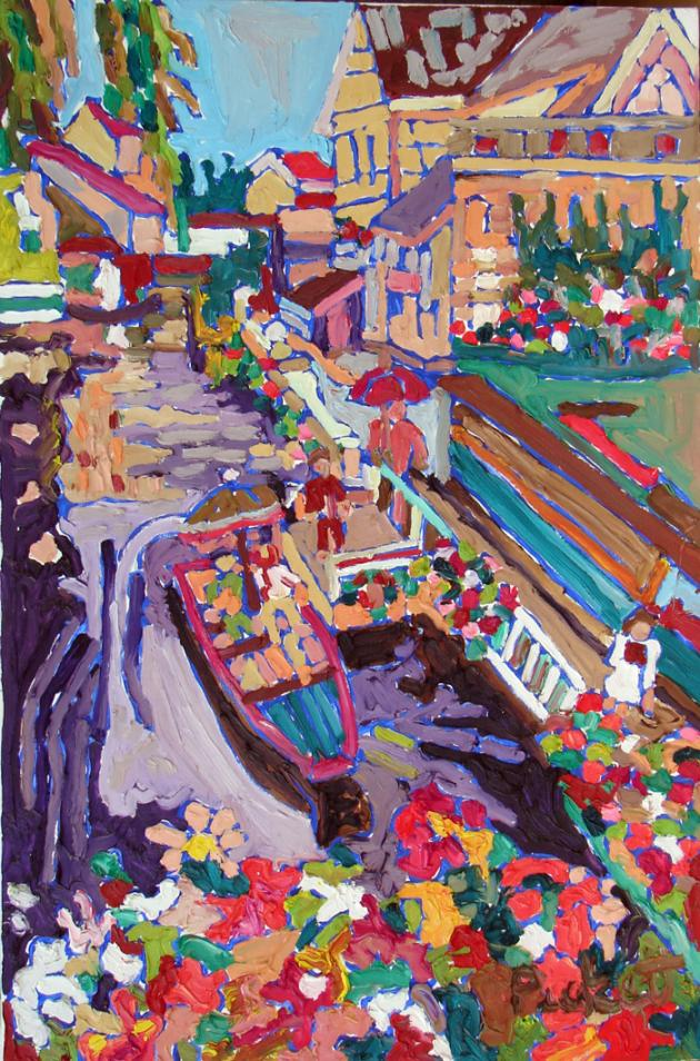 Flowery Canal, acrylic, 36x24