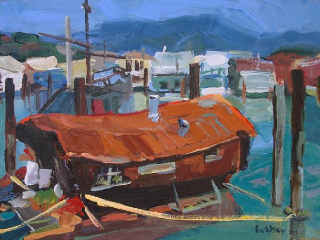 "Sausalito Houseboats, Acrylic on canvas, 9""x12"""