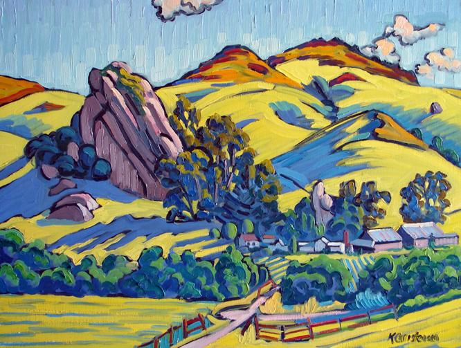 Yellow Hills, Oil, Big Rock, 30 x 40
