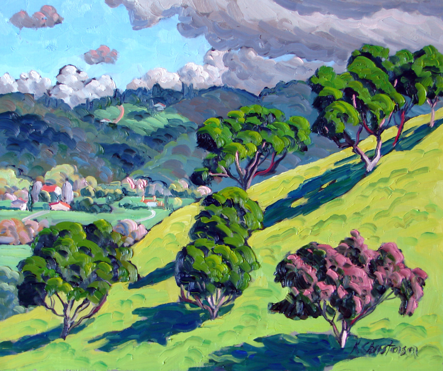 Oak Trees on hillside, Oil, 20 x 24