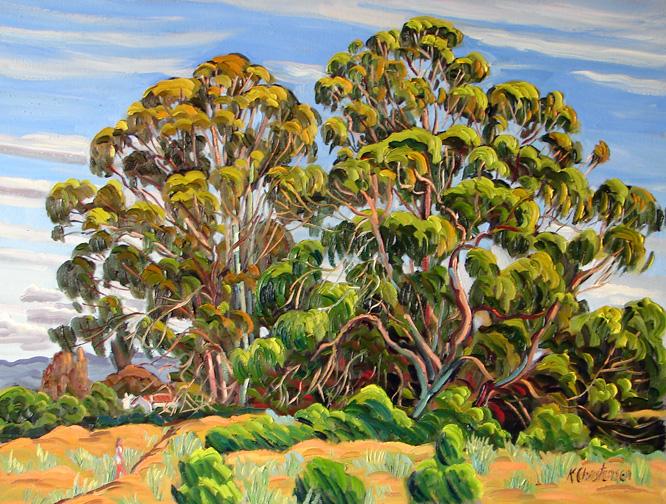 Two Eucalyptus, Oil, 30 x 40