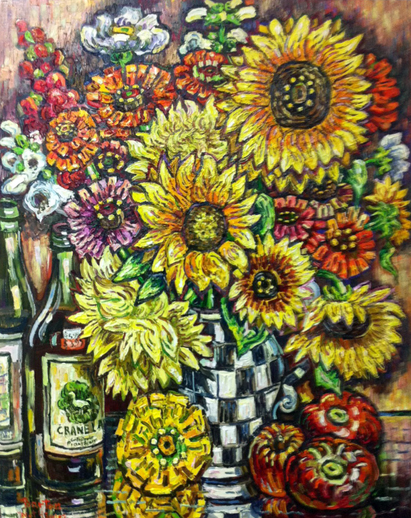 "Sunflowers, 30"" x 24"""