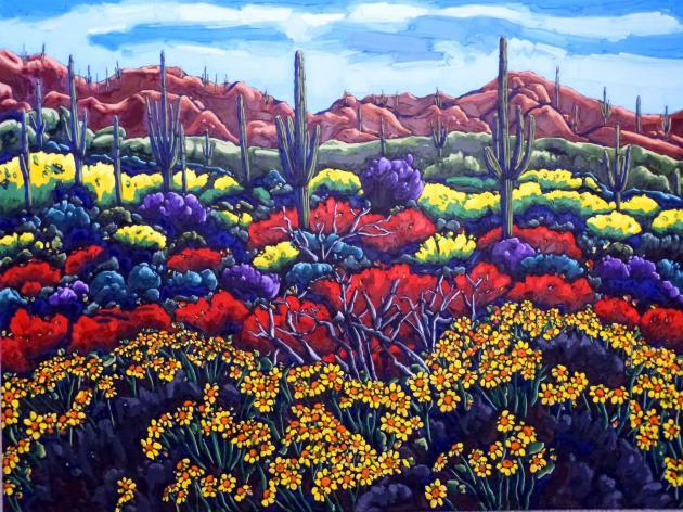 Arizona Eden, Oil on Canvas, 36x48in