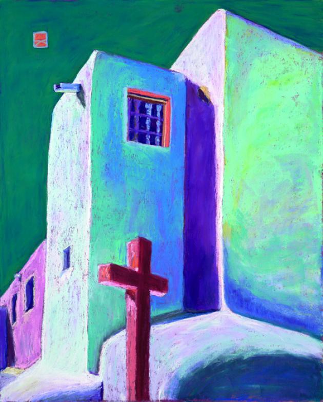 Church at the Crossroads - Janos, pastel, 24x30