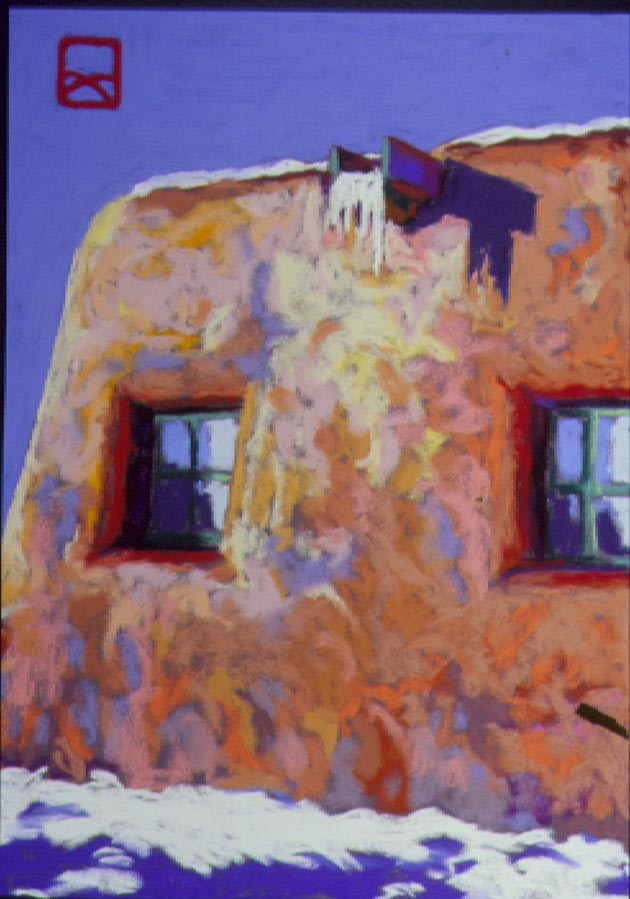 Pueblo in Winter: Violet Shadows, Pastel, 13x17