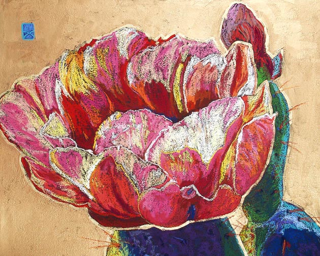 Cactus Fleur, Pastel, 27x36