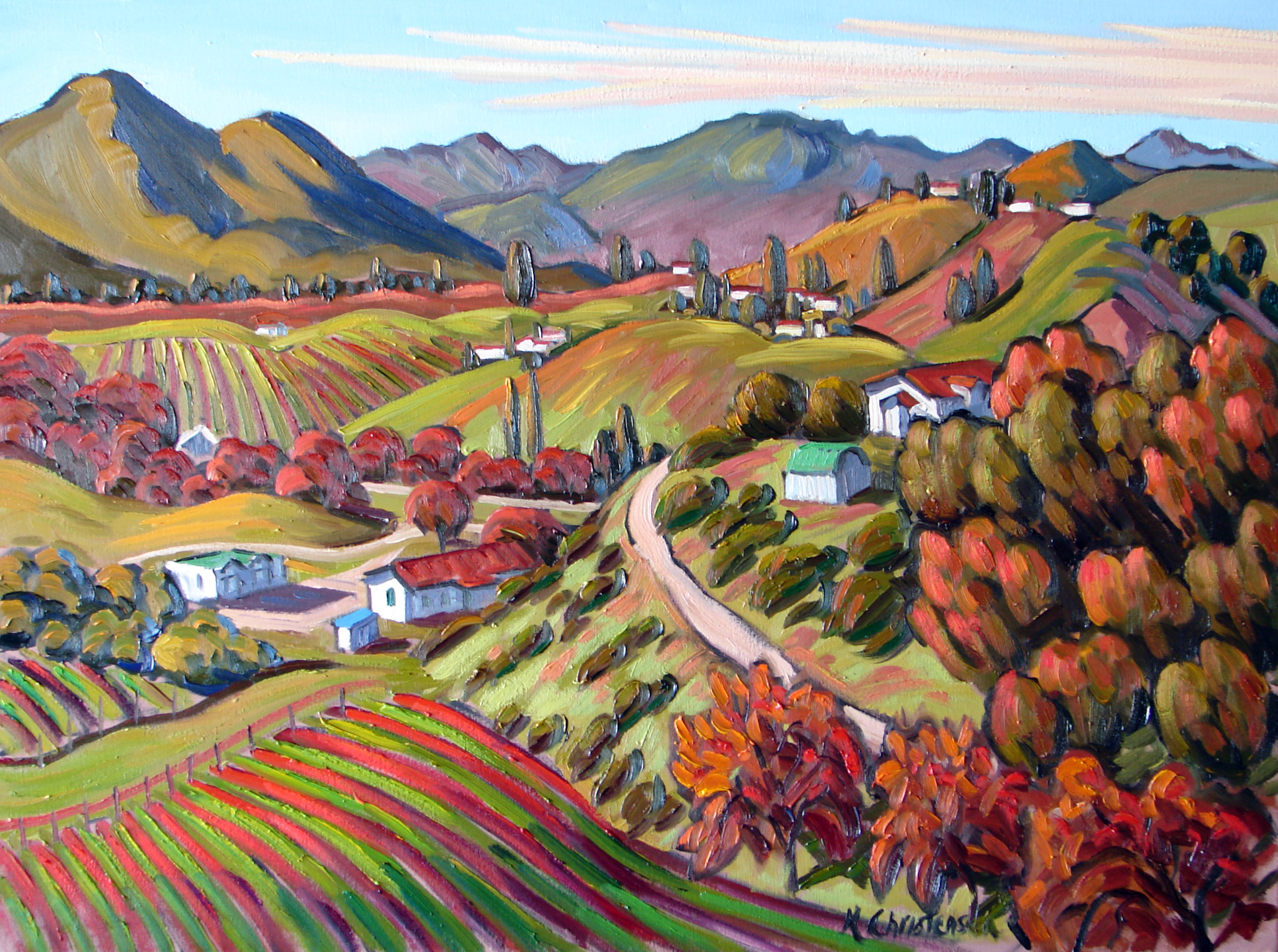 Vineyards in the Fall, oil, 30x40