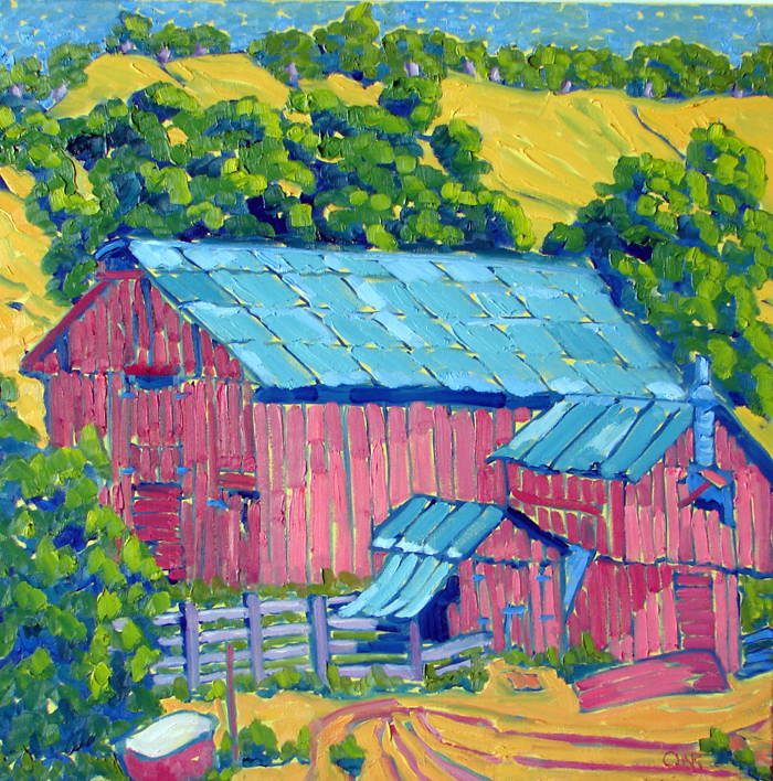 The Pig Barn, oil, 30x30