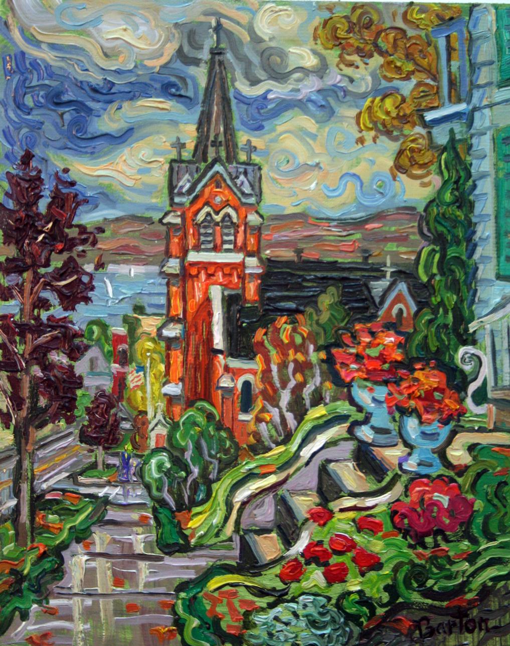 Autumn Church, 10x8, oil