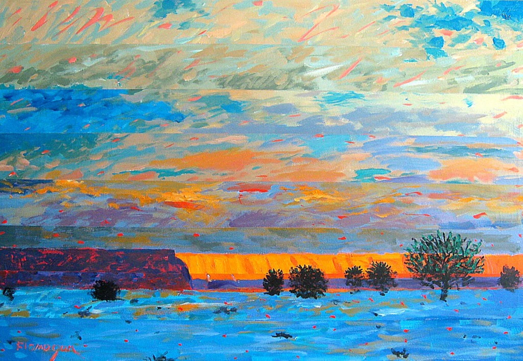 """SUNLIT CLIFFS  Acrylic/Canvas  36"""" x 24"""""""