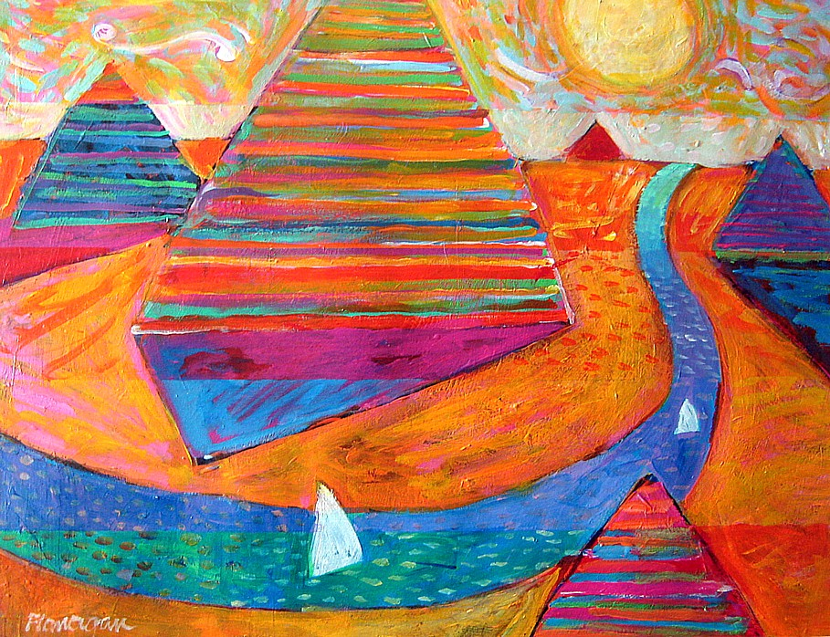 """VALLEY OF THE KINGS  Acrylic/Paper  28"""" x 22"""""""