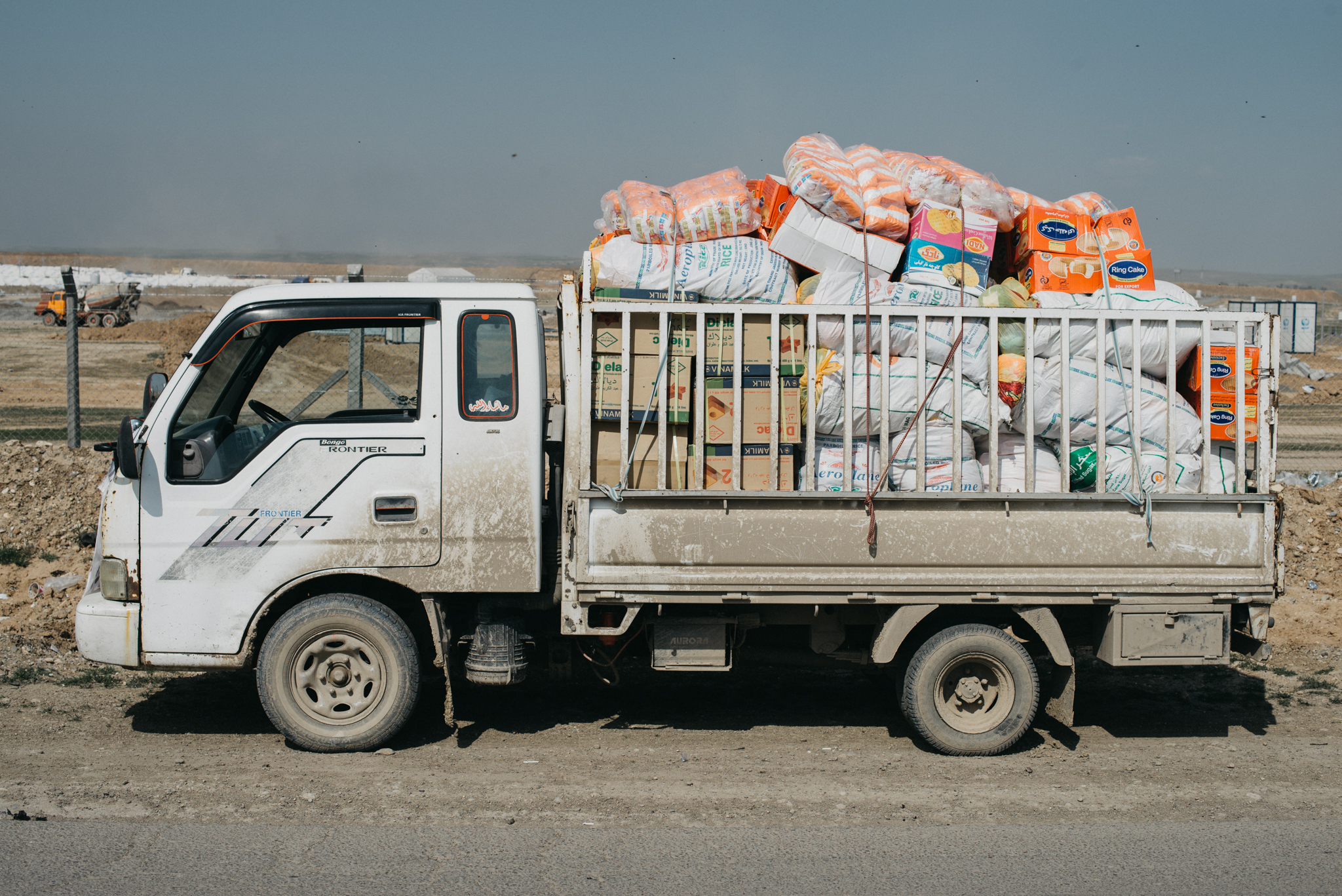 On our first day we brought 5 trucks full of emergency relief to Western Mosul.