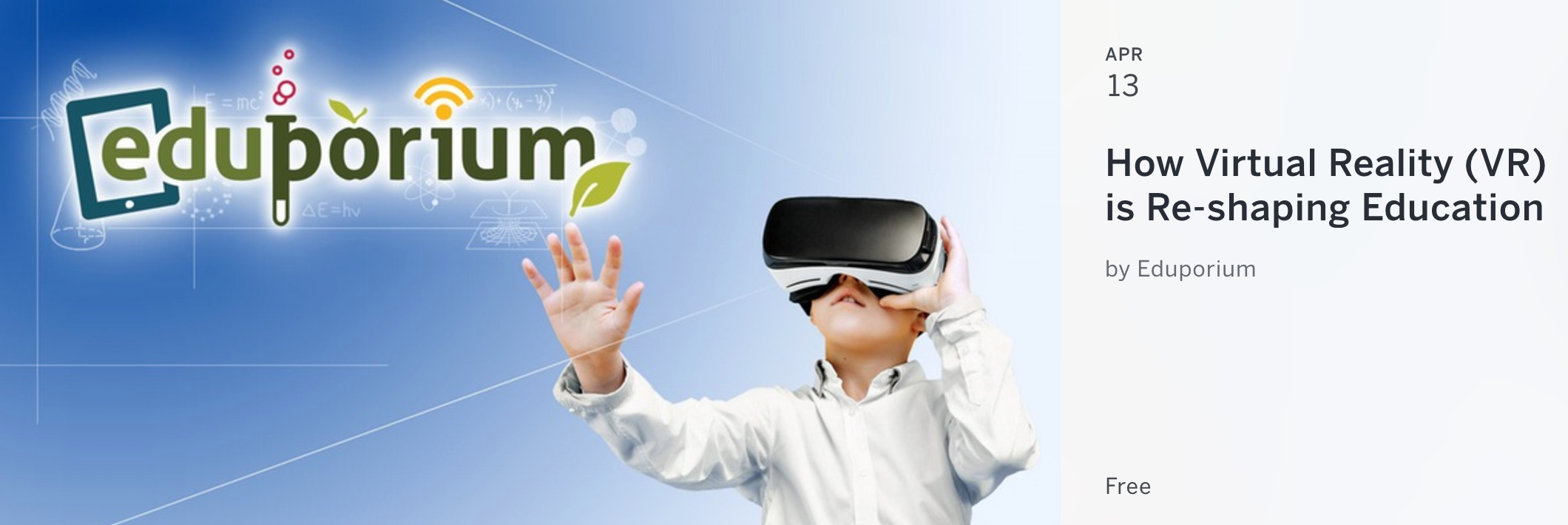 Sign up and join the event: https://www.eventbrite.com/e/how-virtual-reality-vr-is-re-shaping-education-tickets-33051731619