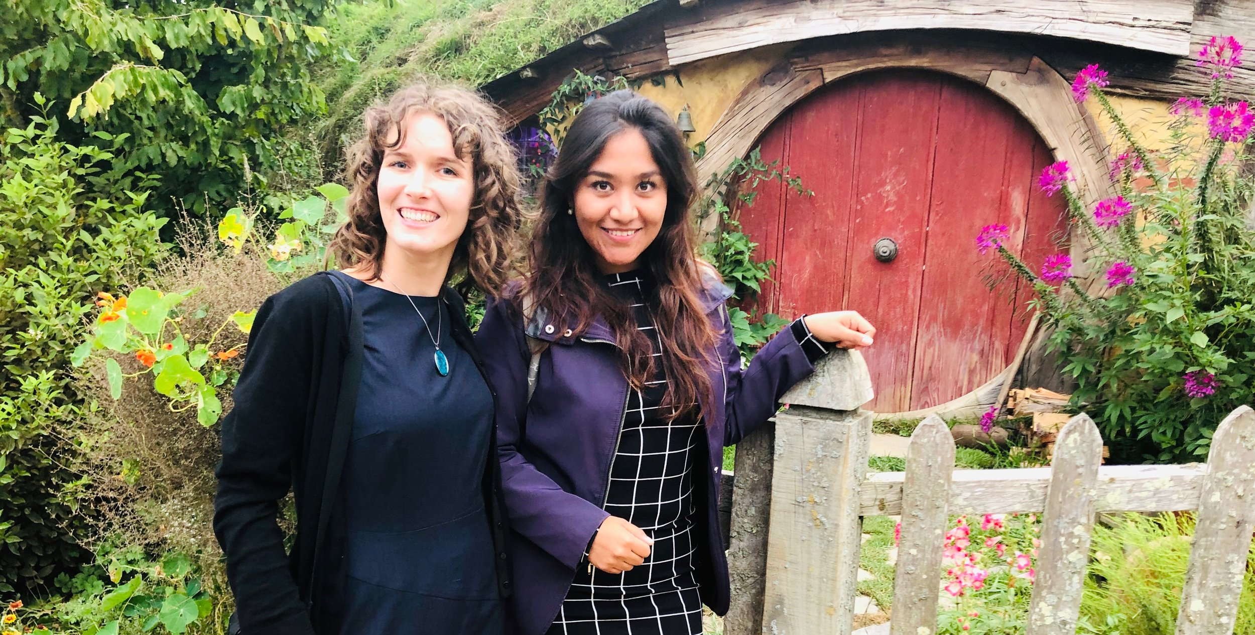 Angelique and Carol enjoying the Field Trip Day at Hobbiton during the Polar and Alpine Microbiology Conference in New Zealand