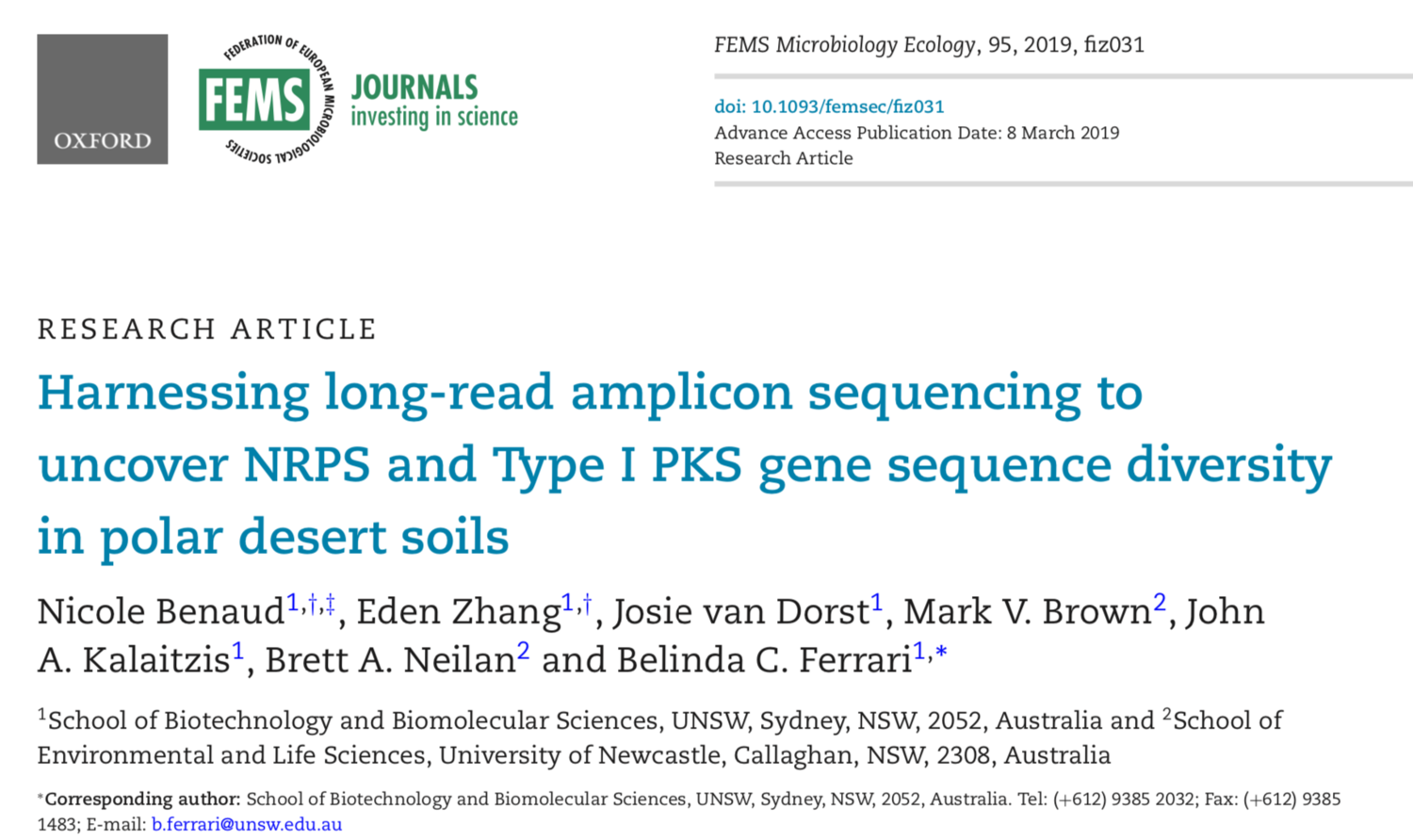 New paper! If you would like to know more about  Natural Product-Encoding Genes in Polar Soils  clic  here  for more info.