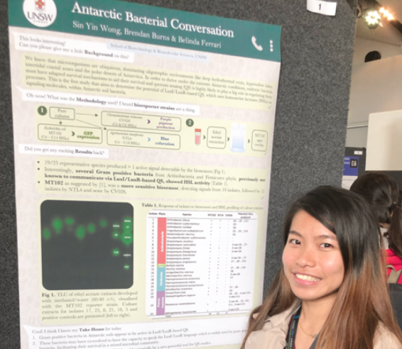 "Nicky with her poster about ""Antarctic bacterial conversation"" at ANZMB 2019. More info  here ."