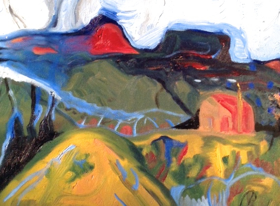 Artwork: Rebecca Pyle,  Hills beside Highway, below Los Alamos,  oil on canvas, 16 x 20, 2014