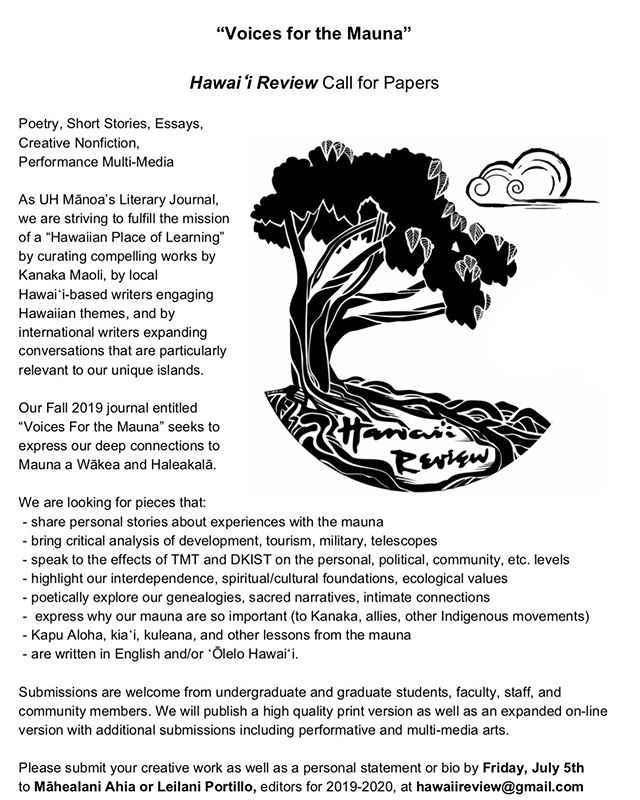 #VoicesForTheMauna #HawaiiReview #CFP #CallForSubmissions #MaunaKea #KanakaMaoliArt #IndigenousArt #IndigenousLiterature #KanakaMaoliLiterature #ŌleloHawaii