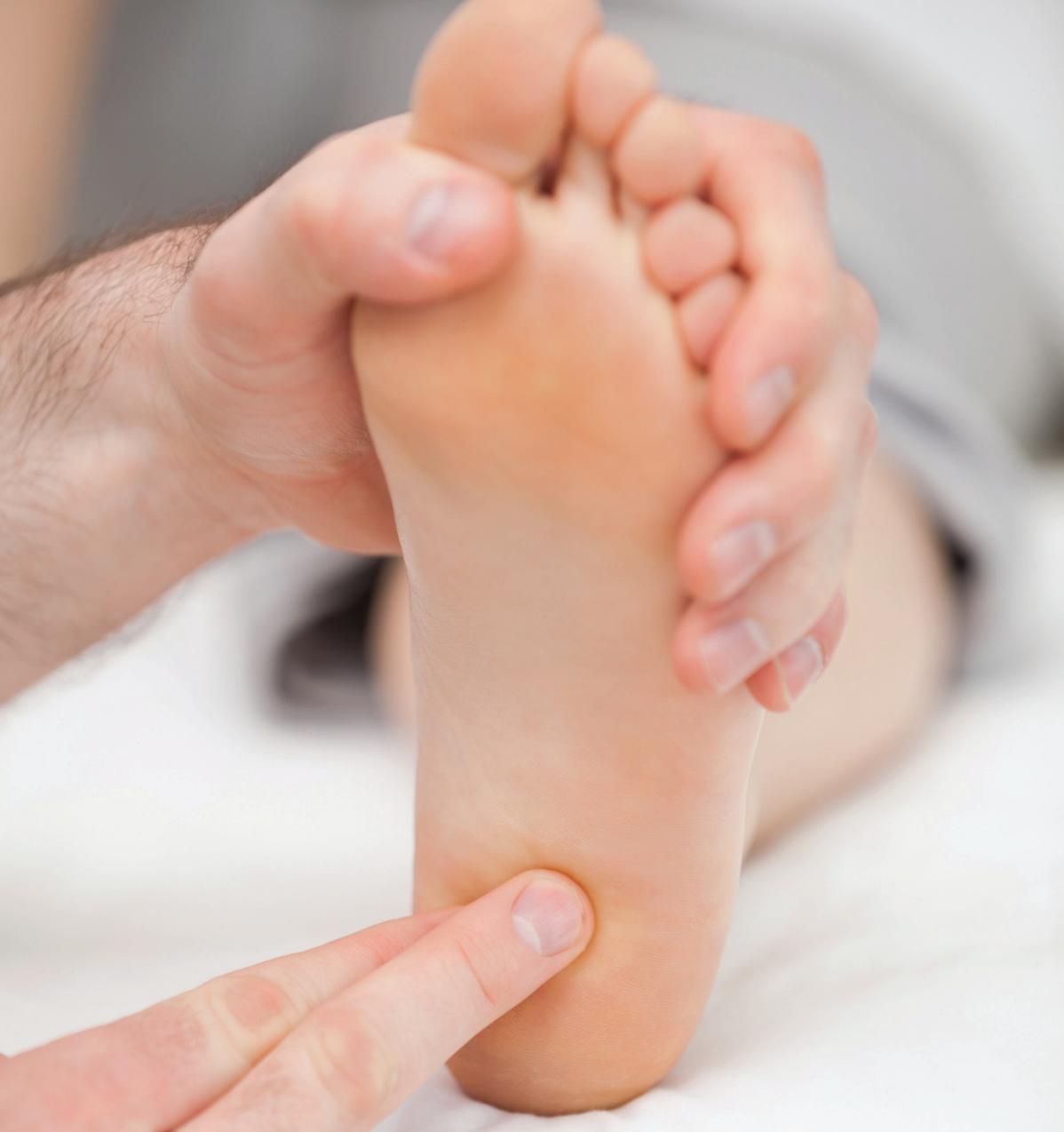 Palpate the plantar heel to reproduce symptoms of plantar heel pain