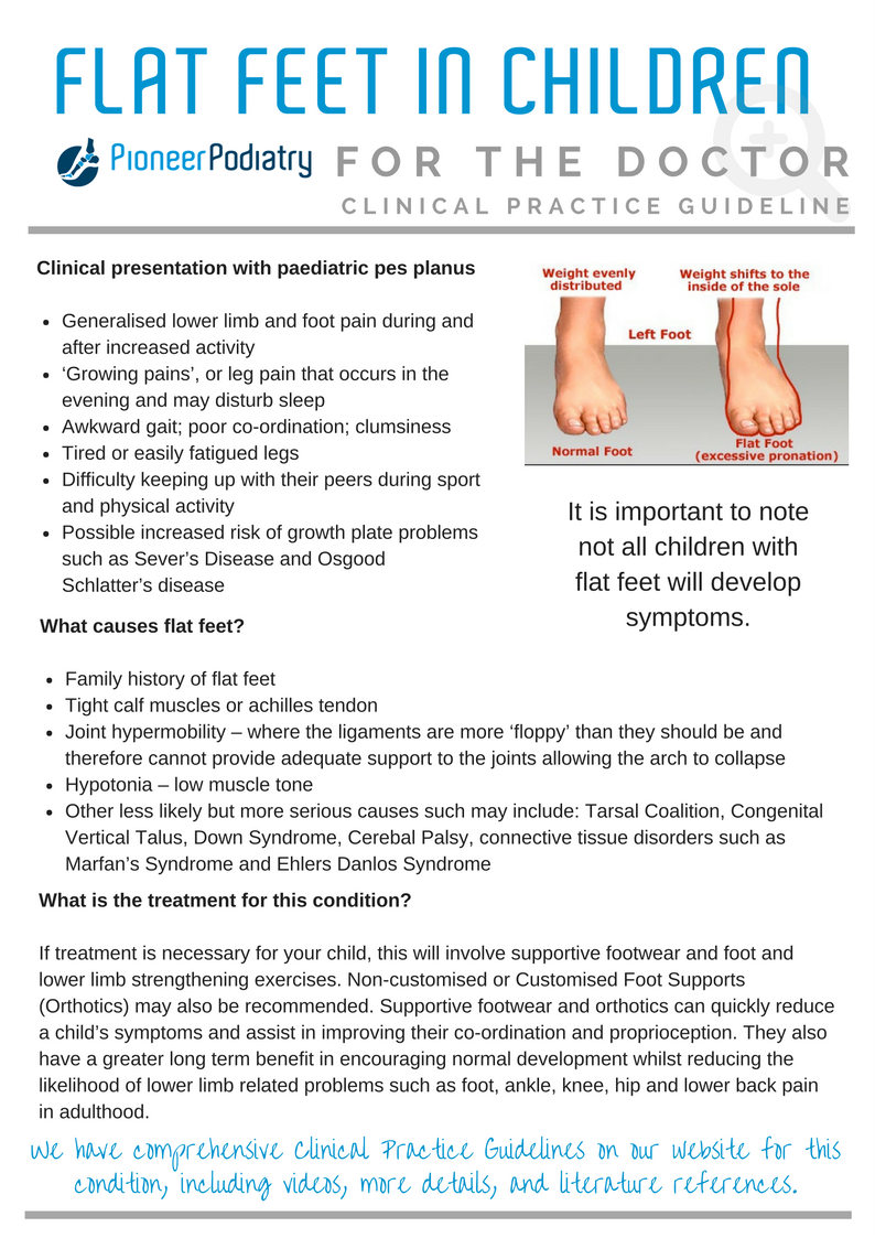 Clinical Practice Guideline for Flat Feet in Children