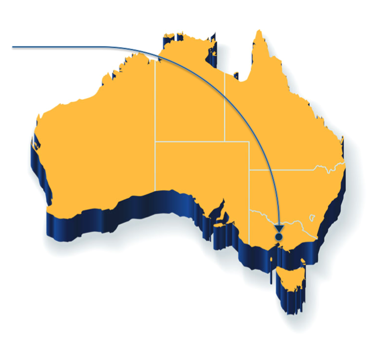 Australia map with flight path